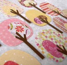 Paper Trees - Friendly Forest Strawberry Lemonade Collection These are paper but what a good idea for fusible applique Sewing Appliques, Applique Patterns, Applique Quilts, Quilt Patterns, Crafts For Kids, Arts And Crafts, Diy Crafts, Diy Pour Enfants, Sewing Projects