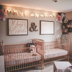 Double the rose gold love in this sweet twins nursery from @emileestucky.