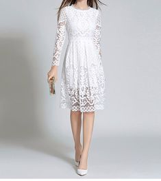 Cheap dress for, Buy Quality fashion women dress directly from China women dress Suppliers: 2017 Winter New Fashion Bohemian High Quality Woman Dress Long Sleeved Hollow Out Lace Solid Dress for Female Show Slim Casual Summer Dresses, Trendy Dresses, Cheap Dresses, Elegant Dresses, Fashion Dresses, Women's Fashion, Sheer Lace Dress, White Dress, White Lace