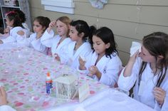 8 year old girl birthday party ideas | Every Birthday girl gets to wear a special fluffy bath robe. The rest ...