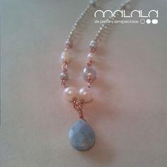 #collar con una gran Amazonita azul y #perlas cultivadas grises, para la nueva línea de #verano.
