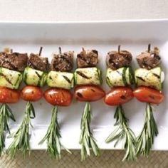 Garden Party Skewers using fresh herbs from the garden itself!