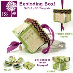 Exploding Box SVG - so cute as Christmas ornament for first year of marriage Exploding Gift Box, Cricut Explore Projects, Magic Box, Card Making Techniques, Art Techniques, Paper Cards, Paper Boxes, 3d Paper, Craft Box