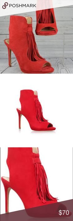 Vince Camuto Abigalla Red Tassel Platform heel Super cute open toe bootie platform high heel in a stunning red color. Brand new never worn. Only tried on one side, other still is still wrapped. Im selling them for my sister, she never wore them. Super cute style just not my size unfortunately. Vince Camuto Shoes Ankle Boots & Booties