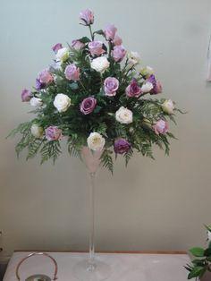 Sia artificial greenery, Sia lilac roses, Sia purple lisianthus & the Sia white roses in a martini vase