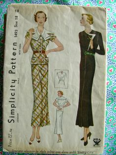 UNCUT Vintage 1930's Sewing Pattern 1493 STUNNING Art by anne8865