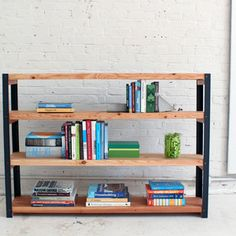 Check out this project on RYOBI Nation - This DIY bookshelf project has a nice rustic, modern look and is easily created from angle irons and 2x10s. Ben Uyeda of HomeMade-Modern.com shows how to easily drill through steel and make a sturdy and versatile piece of furniture.