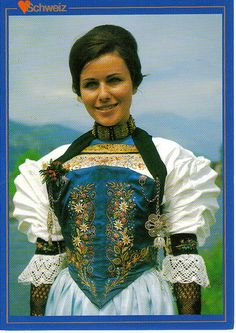 Switzerland. Traditional costume - lovely embroidery!