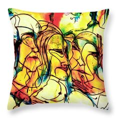 Ink Throw Pillow featuring the drawing Faces by Cuiava Laurentiu Drawing Faces, Drawings, Pillow Sale, Poplin Fabric, Fine Art America, Throw Pillows, Ink, Prints, Image