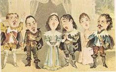 "A caricature of the ""Lucia Sextet"", circa 1900, from Lucia di Lammermoor by Donizetti. The ""Lucia Sextet"" melody has featured in many films and cartoons, including Disney's The Whale Who Wanted To Sing At The Met."