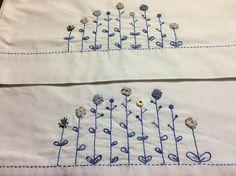 Blue Yoyo Flower Garden Pillowcase set Hand embroidered.