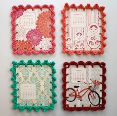 Card Calendars with crocheted edges...also good for things like cards or photos! :)