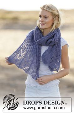 "Knitted DROPS stole with lace pattern in ""Brushed Alpaca Silk"". ~ DROPS Design"