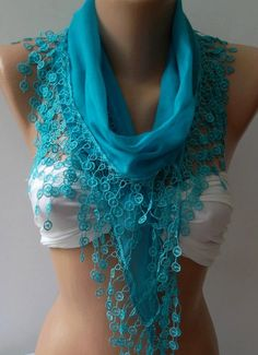 Blue  Cotton Shawl / Elegance Shawl / Scarf with Lace by womann, $16.90