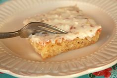 Easy Pineapple Sheet cake - would be delicious (and less calories) to use cool whip as topping