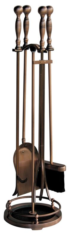 5 Pc Satin Copper Fireset - This classic UniFlame(R) 5-piece fireplace tool set, by Blue Rhino(R), has all the tools you need to tend to a roaring fire. This set includes a poker, brush, log lifter and shovel. Its popular satin copper finish will accent a variety of decor. Tools feature easy to grip ball handles that are both classic and functional. This tool set features an embossed base with a Victorian dancing lady design. Made from steel Satin-copper triple-plated finish for a classic…