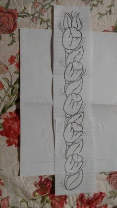 Border Embroidery On Kurtis, Kurti Embroidery Design, Tambour Embroidery, Hand Embroidery Patterns, Ribbon Embroidery, Cross Stitch Embroidery, Saree Painting Designs, Fabric Paint Designs, Outline Drawings
