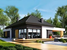 Find home projects from professionals for ideas & inspiration. Projekt domu HomeKONCEPT 27 by HomeKONCEPT Contemporary House Plans, Modern House Plans, Small House Plans, Modern House Design, Bungalow House Plans, Modern Bungalow, Beautiful House Plans, Architect House, Prefab Homes