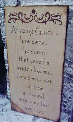 Rustic Primitive Sign AMAZING GRACE hymnal lyrics.