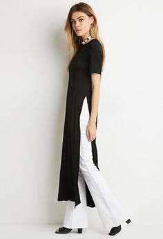 Shop Forever 21 Canada for the latest trends and the best Fresh Outfits, Casual Outfits, Casual Dresses, Fashion Outfits, Linen Dresses, Dress Over Pants, Dresses With Leggings, Mundo Fashion, Black Leggings Outfit