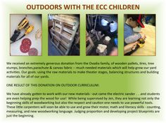 OUTDOOR CURRICULUM: Utilizing raw materials to create - and develop motor, math and literacy skills in the process!
