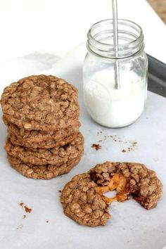 Caramel Apple Oatmeal Cookies are big, chewy, and loaded with oatmeal. Delicious.