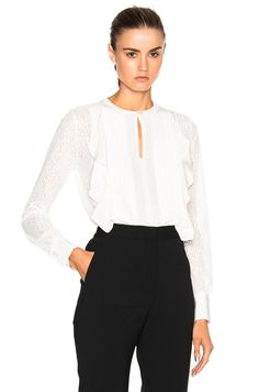 Image 1 of See By Chloe Double Ruffle Top in Cloud White