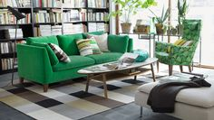Adorable IKEA Living Room Design Ideas : Nature Themed IKEA Living Room with Green Sofa and Surfboard Shaped Coffee Table Ikea Living Room, Living Room Green, Home And Living, Living Room Furniture, Living Spaces, Small Living, Modern Living, Living Area, Living Rooms