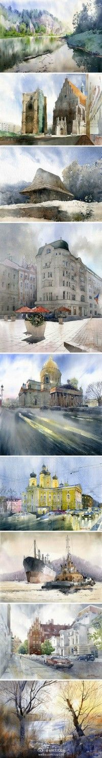 Michal Orlowski水彩风景画作品(1)…_来自ivyyang900510的图片分享-堆糖网