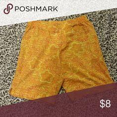 Secret Treasures slleepwear shorts Yellow with orange colored. Size medium. 8-10. Roomy shorts. Like New. Intimates & Sleepwear Pajamas