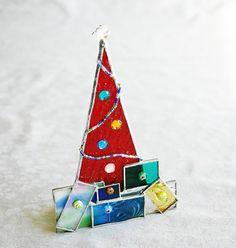 Stained Glass Christmas Tree Suncatcher Ornament by GaleazGlass, $24.00