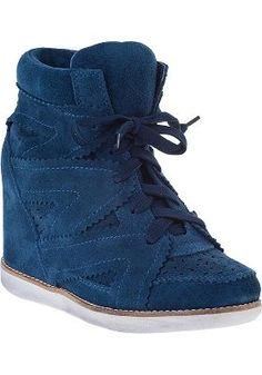 Jeffrey Campbell - Venice Wedge Sneaker Navy Suede