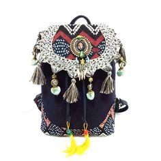 1addc16f170bc Description Backpack available in several colors. The front of the bag  features colorful embroidered