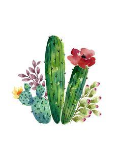 watercolor Cactus bunch