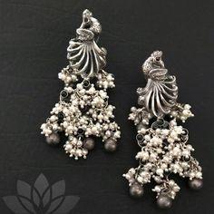 Silver Bracelet With Diamonds Cute Jewelry, Unique Jewelry, Jewelry Design, Silver Necklaces, Silver Earrings, Silver Jewelry, Jewelry Tumblr, Indian Earrings, India Jewelry