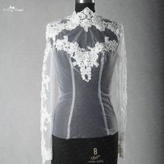 RSJ58 Real Pictures Keyhole Back Long Sleeves High Neck Lace Wedding Jacket