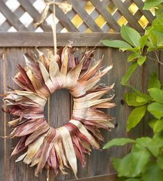 DIY:  Sunburst Cornhusk Wreath - extremely easy info on how to make this wreath.