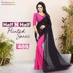Printed Sarees online collection at the best price. Checkout variety of Printed Sarees for colors, Fabric, styles with express delivery. #eanythingindian #beindian #buyindian #ethnic #saree #printedsaree #sareeoftheday #vamikasaree Online Collections, Pink Saree, Printed Sarees, Sarees Online, Ethnic, Delivery, Indian, Formal Dresses, Colors
