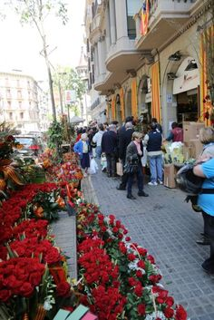 Roses for St. Jordi Day, 23.04,  in Barcelona, Catalonia
