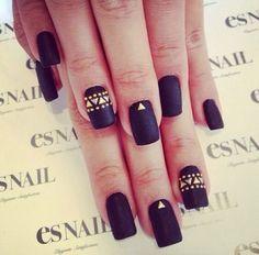 Black Matte Nails + Gold Details