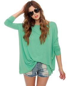 SO CUTE! Definitely a must-have!    Simple Dimple Mint Long Sleeve Top - Buy it here: https://www.lookmazing.com/products/show/1867726