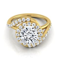 14k Yellow Gold 1 1/2ct TDW Round Diamond Pave Wave Engagement Ring (H-I, VS1-VS2) (Size - 12), Women's