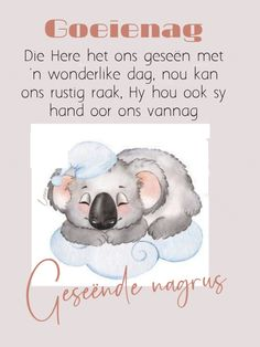 Afrikaanse Quotes, Goeie Nag, Cartoon Pics, Good Night, Amen, Teddy Bear, Nighty Night, Teddy Bears, Good Night Wishes