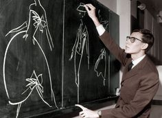 Yves Saint Laurent uses chalk to sketch designs when he had just been named as successor to couturier Christian Dior, 1957.