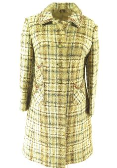 This nubby fleck plaid wool women's overcoat can add classic vintage style to any outfit you wear with it.