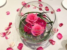 Roses and fish bowl centerpiece
