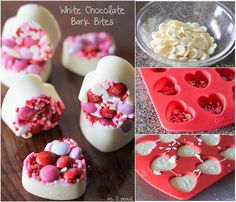 When it comes to candy making, there's nothing easier and simpler than chocolate bark, which… Valentine Desserts, Valentines Baking, Valentine Treats, Saint Valentine, Homemade Chocolate Bars, White Chocolate Bark, Yummy Treats, Sweet Treats, Candy Making