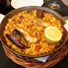 Seafood paella from Barcelona, Spain.