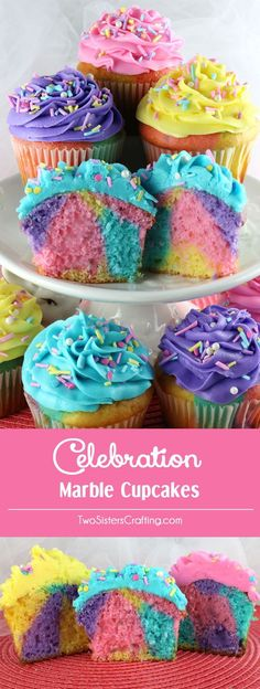 Celebration Marble Cupcakes - a beautiful and colorful cupcake that would be a great Easter dessert or wow at a Birthday Party, a Baby Shower or just a random Wednesday. Cupcakes never looked so good or were so easy to make. What a fun and delicious Easte