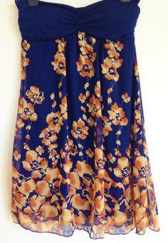 Navy Blue & Orange Floral Dress from Forever 21 Size SM